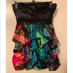 Dresses & Skirts - Black top/ colorful bottom dress